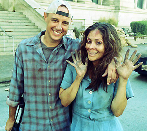 Chad Law and actress Farah White on set of Daylight's End.
