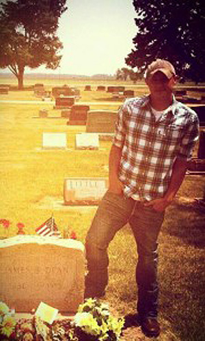 Chad Law at James Dean's grave.