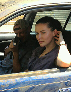 Chad Law and actress Chelsea Edmundson on set of Daylight's End.