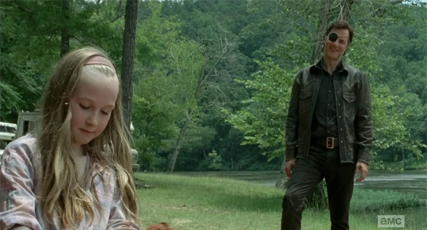 David Morrissey and Meyrick Murphy in The Walking Dead.