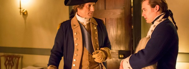 George Washington (portrayed by Ian Kahn) and Benjamin Tallmadge (Seth Numrich) discuss war plans.