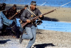 "Denzel Washington as Private Silas Trip in ""Glory"" during the storming of Fort Wagner."