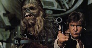 "Harrison Ford and Peter Mayhew as Han Solo and Chewbacca in ""Star Wars: Episode IV A New Hope""."
