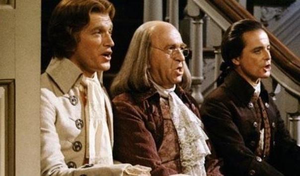 """... as Benjamin Franklin and William Daniels as John Adams in """"1776"""